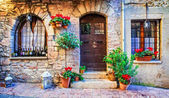 Charming old street of medieval towns of Italy, Umbria region.Spello.