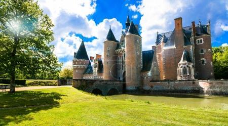 Romantic medieval castles of Loire valley - beautiful Chateau du Mulin