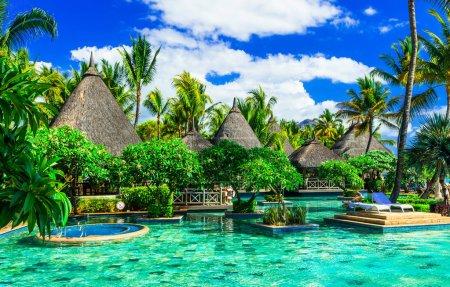Photo pour Vacances tropicales à Ile Maurice, hôtel de luxe avec piscine . - image libre de droit
