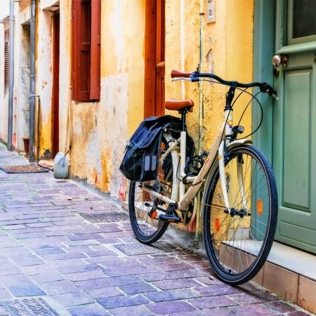 urban scenery - old bike in old town of Rethymno, Crete