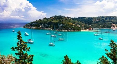 Beautiful turquoise bay Lakka in Paxos island. Ionian islands of Greece.