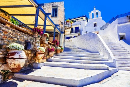 Traditional Greece - charming floral streets with tavernas, Naxos