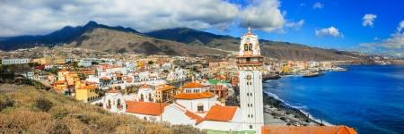 Tenerife - view of Candelaria town with famous basilica, Canary