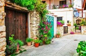 Beautiful floral streets of traditioanl villages of Cyprus island.