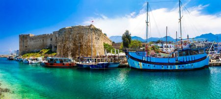 Lanmarks of Cyprus -  Kyrenia town , medieval fortress in northern.