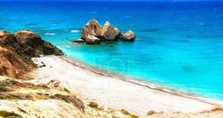 Best beaches of Cyprus - Petra tou Romiou, azure sea and unique rocks.