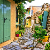 Typical streets of old traditional villages of Greece - Alonissos island.