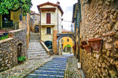 Charming narrow streets of old traditional villages in Italy. Casperia.