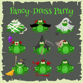 Halloween green toads fashion costume outfits Cartoon style vector illustration isolated on white background
