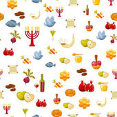 Rosh Hashanah, Shana Tova or Jewish New year seamless pattern, with honey, apple, fish, bottle, torah ,lettuce, date, beet and other traditional items. Cartoon flat vector illustration