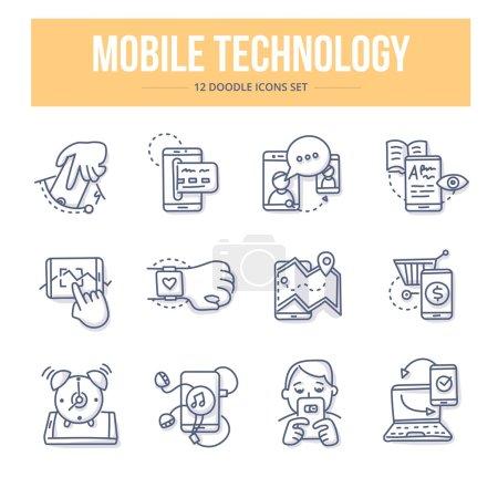 Illustration pour Icônes de ligne vectorielle Doodle ensemble d'utiliser la technologie mobile dans les affaires et la vie quotidienne - image libre de droit