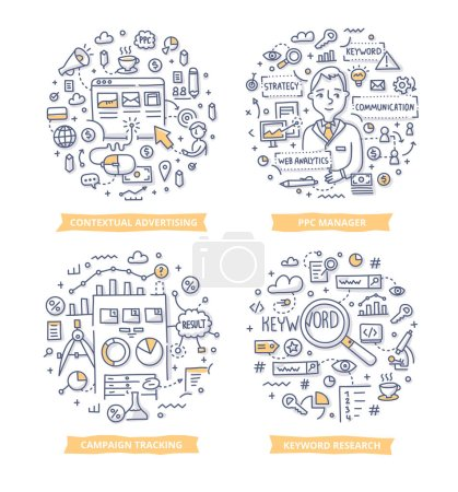 Illustration for Doodle vector concepts of pay per click contextual advertising, keyword researching and tracking campaign results - Royalty Free Image