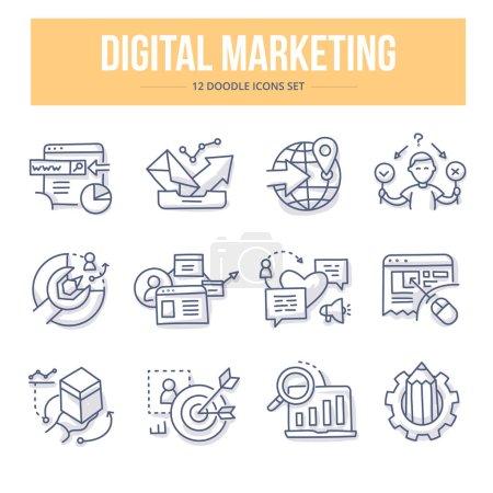 Illustration pour Doodle vecteur ligne icônes du marketing numérique, référencement, médias sociaux, analyse de marché, augmenter les ventes, la création de gestion de contenu et de nouveaux produits - image libre de droit