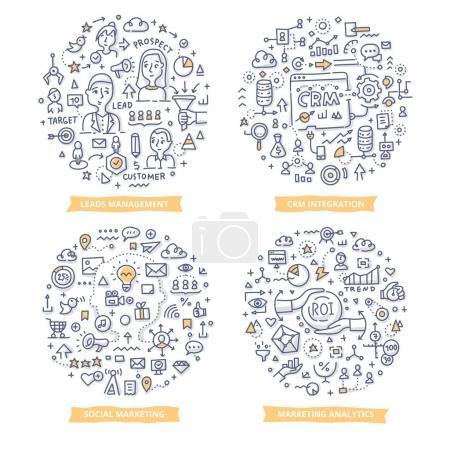 Illustration for Doodle vector concepts of leads management, CRM integration, marketing analytics and social marketing. Marketing automation concepts - Royalty Free Image