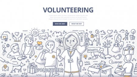 Illustration for Doodle vector illustration of a volunteers, doing altruistic social activity. Volunteering concept for web banners, hero images, printed materials - Royalty Free Image