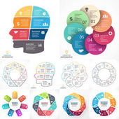 Vector circle infographic set Business diagrams arrows graphs linear presentations idea cycle charts Data options parts 7 steps Artificial intelligence neural network brainstorming