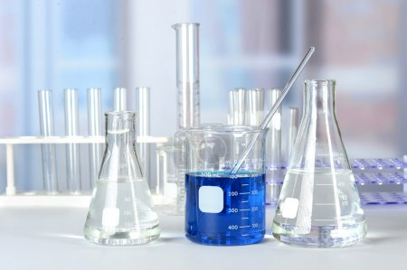 Laboratory with Glassware on Table