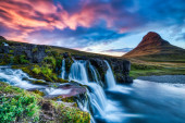 Iceland Landscape Summer Panorama, Kirkjufell Mountain at Sunset