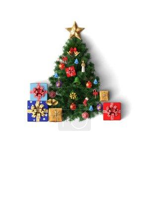 Photo pour Arbre de Noël et boîte-cadeau de décoration Carte joyeuse de Noël sur fond couleur - image libre de droit