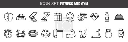 Set of simple black fitness and gym thin line icon...