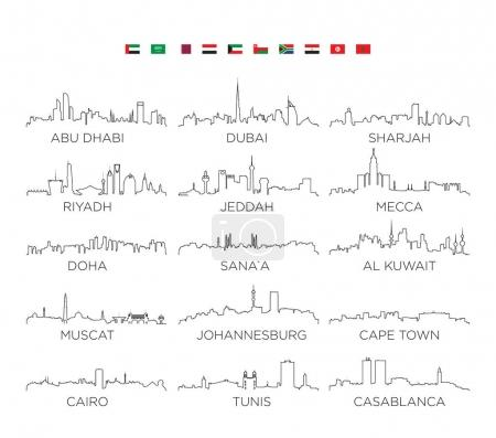 Illustration for Arabian Peninsula and Africa skyline city line art, vector Illustration design - Royalty Free Image