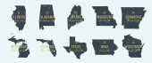 Set 3 of 5 Highly detailed vector silhouettes of USA state maps