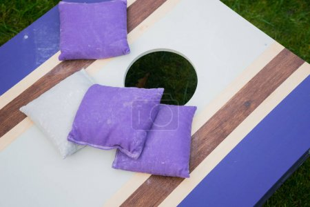 Photo for Cornhole beanbag toss wood game board outside on grass - Royalty Free Image