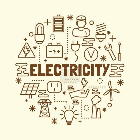Illustration pour Ensemble d'icônes de ligne mince minimale d'électricité, éléments de conception d'illustration vectorielle - image libre de droit