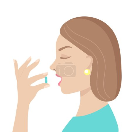 Illustration for A young woman takes a pill.Medicine, vitamins, supplements.Antiviral agent, coronavirus, treatment of diseases, analgesic, pregnancy.Flat vector illustration on a white background - Royalty Free Image