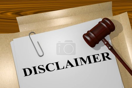 """Photo for 3D illustration of """"DISCLAIMER"""" title on legal document - Royalty Free Image"""