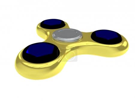 3D Illustration of golden fidget spinner isolated on white