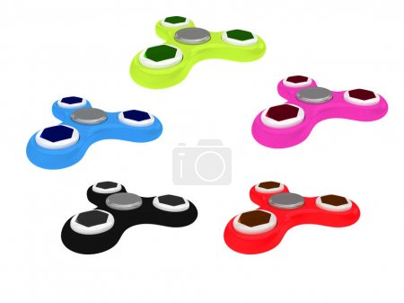 3D Illustration of multi colored fidget spinners isolated on whi