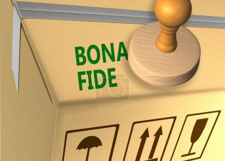 Photo pour Illustration 3D du titre du timbre BONA FIDE sur un carton de marchandises - image libre de droit