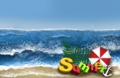 Top view of the sea, waves in the sand, sea background,  summer