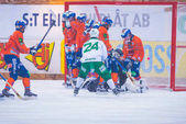 Hammarby scores at the bandy game between Hammarby and Bollnas