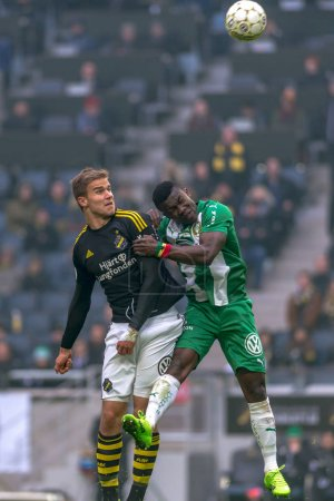 Header at the derby game between AIK and Hammarby IF at the nati