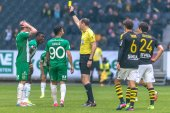 Yellow card and free kick at the derby match between AIK and Ham