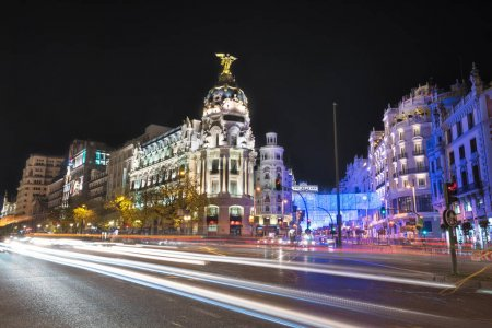 Night photography of Madrid cityscape