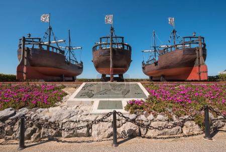 Santander, Spain - April 20, 2017: Monument to Christopher Colombus caravel Ships copys of America discovering, in the Magdalena park, Santander, Cantabria, Spain