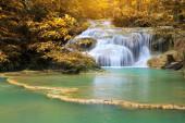 Waterfalls In Deep Forest at Erawan Waterfall in National Park K