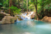 Waterfalls In Deep Forest at Erawan Waterfall in National Park K