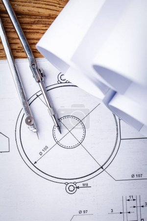 Technical drawings. Project by drawing compass on paper. Drawing detail and drawing tools