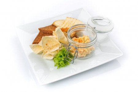 Photo for Snack for beer. Crackers and pita bread with sauce . Isolated - Royalty Free Image