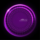 Abstract techno background with spirals and rays with glowing particles Tech design Lights vector frame Glowing dots purple lilac mauve violet magenta