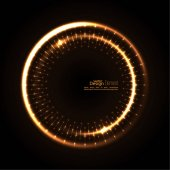 Abstract techno background with spirals and rays with glowing particles Tech design Lights vector frame Glowing dots  brown beige bronze sepia chocolate
