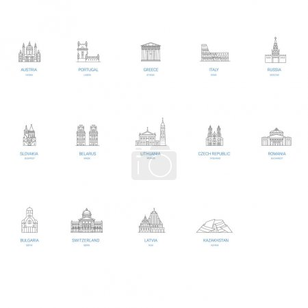 World monuments and landmarks  travel destinations with famous buildings and tourist attractions in line art design.Top capitals including Vienna, Lisbon, Athens. Rome, Moscow, Budapest, Minsk