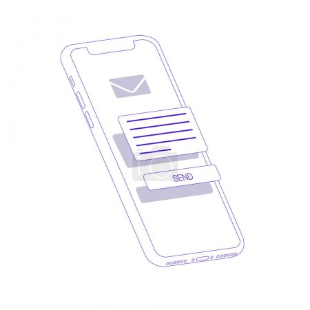 3d flat isometric illustration with smartphone. The process of developing the site interface. Sketch mobile website