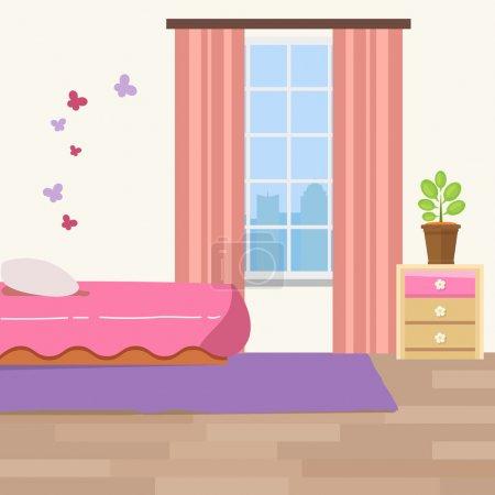 Illustration pour Chambre d'enfant avec mobilier blanc. Bébé intérieur rayé rose. Conception de chambre de fille avec lit, berceau mobile, commode et bac à jouets. Parquet en dentelle. Illustration vectorielle de style plat . - image libre de droit