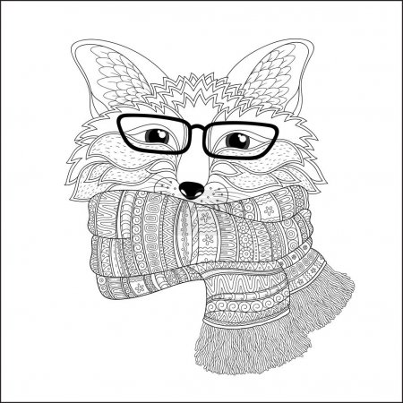 Fox is wearing a scarf.  Coloring page
