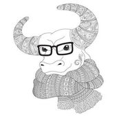 Bull  in a scarf and glasses